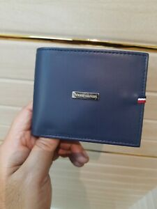 New Tommy Hilfiger Navy Passcase Bifold Wallet With Gift Box