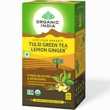Organic India Tulsi Green Tea Lemon Ginger 25 Tea Bags Stress Relieving Refrshng