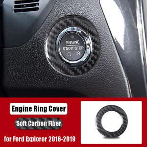 For Ford Explorer Carbon Fiber Engine Start Stop Button Ring  Cover 2016-2019