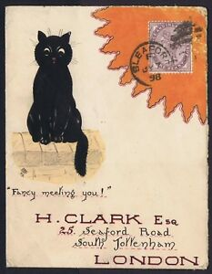 """1898 Hand Painted Cat """"Fancy Meeting You"""" Sleaford to London Very Fine"""