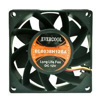 Evercool EC8038H12BA Long Life 80mm x 38mm 12v High Speed Ball Cooling Fan 3pin