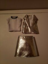 BARBIE 3 PIECE SHINY SILVER VEST SKIRT OUTFIT
