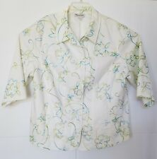 Tangay  Spring Ladies Jacket  Size 18W  3/4 Length Sleeve Floral's With White