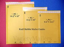24 KRAFT BUBBLE MAILING PADDED ENVELOPE COMBO ~ 3 LARGE SIZES ~ MADE IN THE USA!