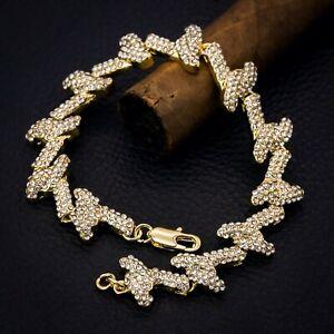 """Mens 14k Gold PT Barbed Wire Bracelet Fully Cz Spiky 9"""" inch Hip Hop Link"""