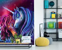 3D Schönes Einhorn 001NAM Tapete Wandbild Selbstklebend Rose Khan Fay