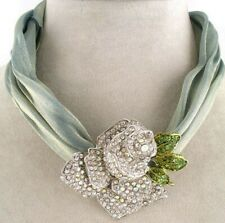 New Statement Silver Tone AB Austrian Crystal Rose Flower Choker Necklace