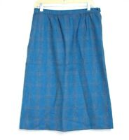 Pendleton - 10 (M) - Blue & Gray Plaid 100% Wool Knee-Length A-Line Skirt