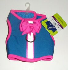 Top paw Blue and Pink Bow Reflective VEST HARNESS XX-SMALL GIRTH 10-12