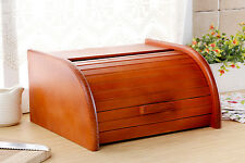 Wooden Bread Box Apollo Roll Top Bin Storage Loaf Kitchen Large - Dark Orange