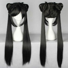 80cm long black Straight Lolita Women Wig With Two Ponytails Anime Cosplay Wig
