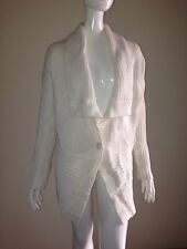 Victoria's Secret L Wool Blend One Button Shawl Tunic Cardigan Sweater Ivory