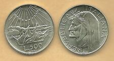 ITALIA LIRE 500 DANTE ARGENTO FIOR DI CONIO REGALO  1965 SILVER SILBER OCCASIONE