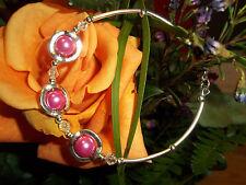 Hot Tibetan Silver Fashion Pink Glass Pearl & Clear Crystal Bracelet S-01
