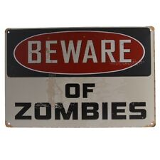 Waterproof Metal Tin Sign Plaque Beware of Zombies Poster Pub Man Cave Decor
