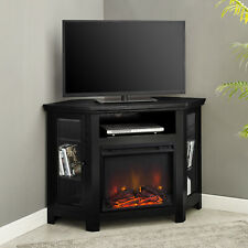 Modern Corner Electric Fireplace 55 Wooden TV Stand Entertainment Media Console