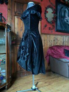 Gothic, Victorian, Steampunk. Velvet Hitched Bustle Corset Burlesque Dress