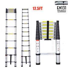 12.5FT Aluminium Multi-Purpose Telescopic Ladder Extension Steps Tall EN131