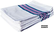 """24 New Baby Infant Receiving Swaddling Hospital Blankets Large 30""""X40"""" Striped"""