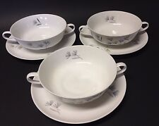 Rosenthal 3 Cream Soup Bowls Saucer Sets Continental 3722 Modell R Loewy Germany