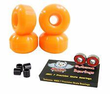 Blank Pro 52mm 99a Neon Orange Skateboard Wheels + Owlsome ABEC 7 Bearings