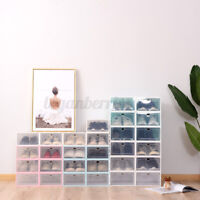 6pcs Clear Plastic Shoe Boxes Foldable Organiser rawer Stackable Storage Box  G