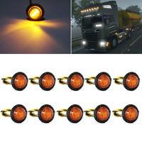 """10X Mini 12V 3/4"""" Round 3 LED WHITE Side Light LED Marker Trailer Truck Lamp"""