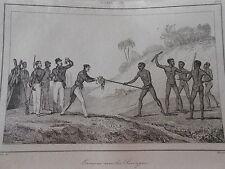 Gravure 1838 Océanie Australie Entrevue avec les sauvages