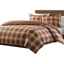 Plaid and Check Pattern Duvet Cover Set 100% Cotton Flannel Red King Size