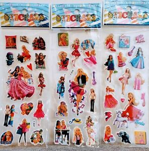 Barbie Doll Stickers Vinyl Loot Bag Birthday Party 10 sheets