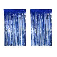 Foil Metallic Fringe Tinsel Curtain Blue Backdrop Door Party Decorations Decor