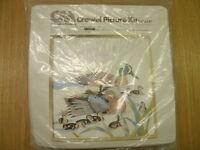 """Columbia-Minerva (Hallmark) """"Blue Winged Teal"""" Crewel Picture Kit"""