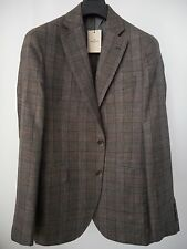 New HACKETT MAYFAIR brown PRINCE OF WALES wool-silk-linen blazer 40R/50R RRP 650