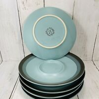 Set Of 5 Arrowstone 690 Saucers  Navajo Blue From Japan Vintage Stoneware