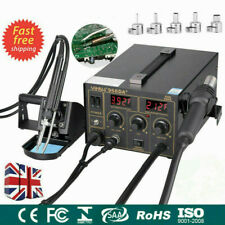 3 in1 Soldering Iron Rework Station SMD Hot Air Gun Solder Welder 5 Nozzle 968D+