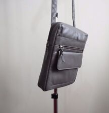 Mens Real Leather Messenger Bag Shoulder Bag Cross Body Bag Grey Ipad Holder