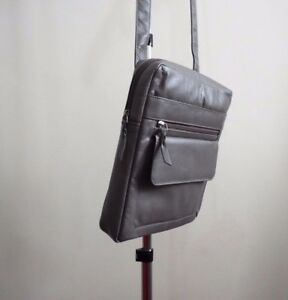 Real Leather Shoulder Bag Cross Body Pouch Messenger Bag Grey New Soft Leather