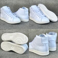 858d8202b716 NWOB NEW WMNS SZ 6.5 ADIDAS STAN SMITH MID WHITE WRINKLED PATENT LEATHER  SNEAKER