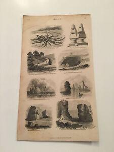 K8) 1855 Geology Stone Obelisks Calabria Hillswick Scotland Original Plate