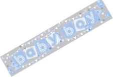 3M Long Extra Wide Baby Boy Blue & Silver Holographic Foil Banner - New & Sealed