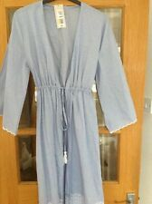 SUMMER DRESSING GOWN SIZE 6-8 M&S BLUE MIX LENGTH 43 IN PURE COTTON ADJ BELT NEW