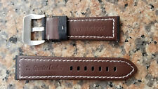 24mm Black, White Stitch Genuine Leather Water Proof watch Band, Strap V Buckle