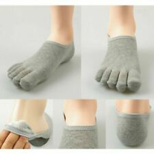 Lot of 2: Men Five Toe Socks Casual Low Cut Soft Ankle Cotton Finger Socks Gray
