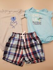 Lot Of 3 Gymboree Baby Boys 3-6 Month 2 Bodysuits 1Shorts All 100% Cotton