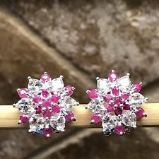 Estate Natural 16ct Ruby White Topaz 925 Solid Sterling Silver Earrings 17mm