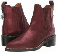 COACH Boots Burgundy Chelsea Bowery Bootie -Leather Pull On Boots-Bordeaux -8.5M