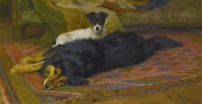 """Oil painting wright Barker - two dogs on the carpet free shipping on canvas 36"""""""