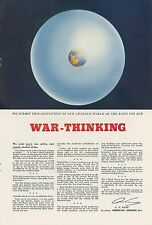 1943 American Airlines Ad View of the World War Thinking WWII Globe Travel
