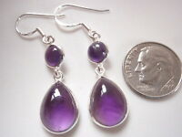 Amethyst Teardrop Round 2-Gem 925 Sterling Silver Dangle Earrings Corona Sun