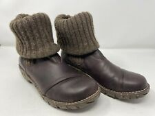El Naturalista Size 7 UE 40 Brown Chunky Knit Elsa Folderover Yggdrasil Booties